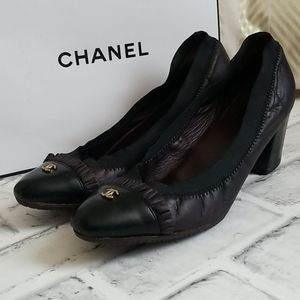 CHANEL Cap Toe Ruffle Heels